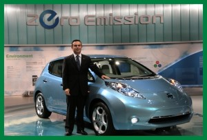 Carlos Ghosn with Leaf